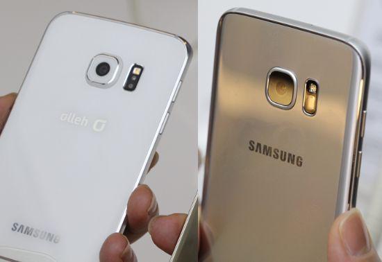 지난해 출시된 갤럭시S6(왼쪽)와 신제품 갤럭시S7(오른쪽)의 후면 디자인을 비교한 모습.
