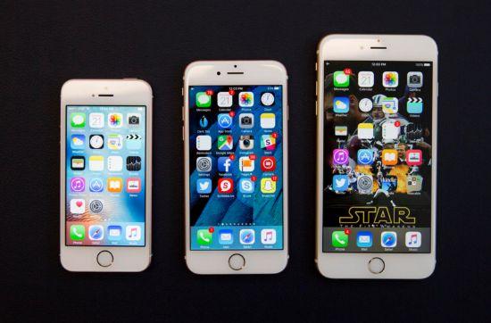 (왼쪽부터)애플 '아이폰se', '아이폰6s', '아이폰6s 플러스' (사진=씨넷)