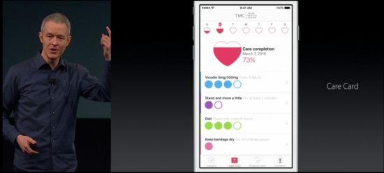 첫번째 애플 케어킷 앱의 케어카드를 제프 윌리엄스 애플 COO가 소개하고 있다.