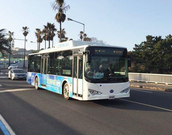 제주 중문관광단지 일대를 주행하는 BYD 저상 전기버스 (사진=지디넷코리아)