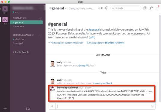 슬랙과 AWS CloudWatch알림 연동 봇 사례=AWS 한국 블로그