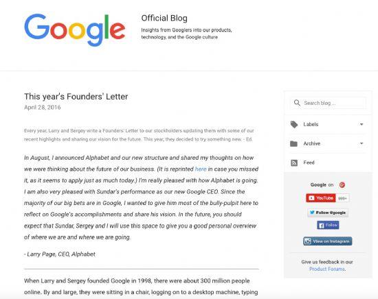순다 피차이가 쓴 창업자의 편지. (사진=구글)