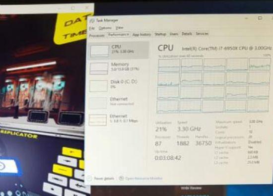 4K 해상도 VR 게임 실행 중에도 CPU 자원의 21%만 쓰인다.