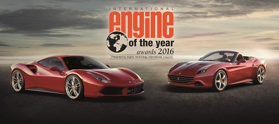 '올해의 엔진 대상'을 수상한 페라리 V8 터보 엔진이 탑재된 488 GTB(왼쪽)와 캘리포니아 T(사진=페라리)