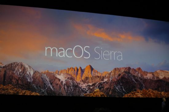 WWDC2016 현장에서 소개된 애플 최신 운영체제 맥OS 시에라. 오는 7월 베타 버전, 9월 정식 버전 공개 예정이다.