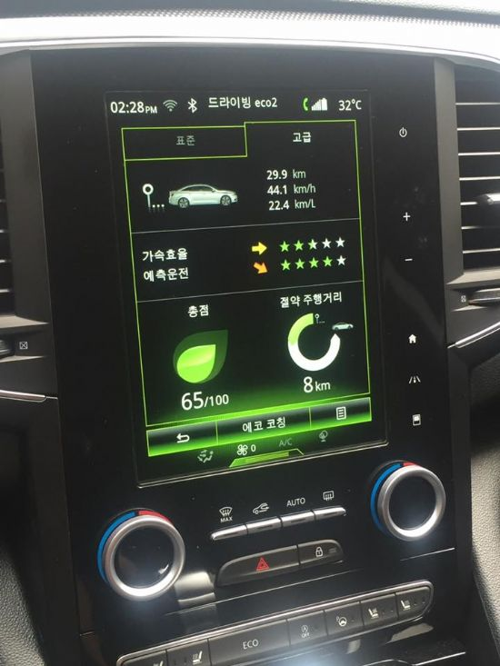 SM6 dCI는 센터페시아 디스플레이를 통해 연비운전 점수를 확인할 수 있다. (사진=지디넷코리아)