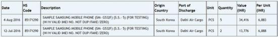 자우바의 통관목록에 포착된 갤럭시 그랜드 프라임 후속작 추정 모델 (자료=Zauba)