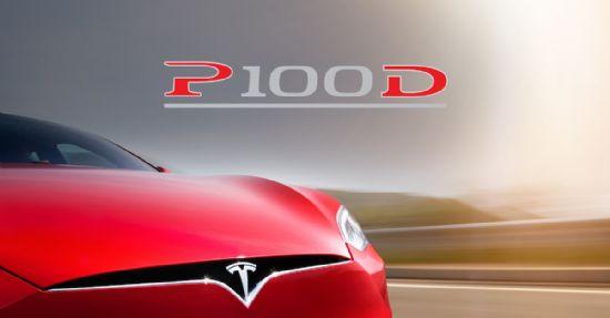 테슬라 모델 S P100D 트림 로고 (사진=테슬라)