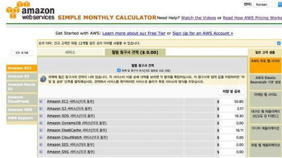 AWS 프리티어를 통한 무료 웹 사이트 운영 비용 절감 방법- 출처: AWS 간단 계산기