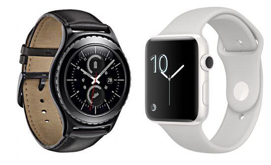 삼성전자 '기어S3'(왼쪽)와 애플 '애플워치 시리즈 2'(오른쪽)