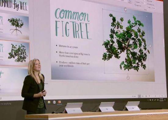 헤더 알렉슨 MS 프로그램매니저가 파워포인트서 3D 그래픽을 활용하는 모습을 시연하고 있다.