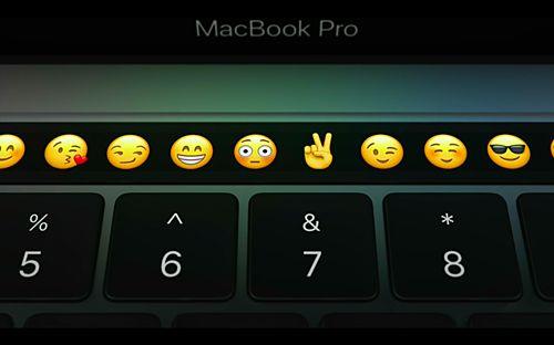 신형 맥북 프로 터치 바. 메시지를 보낼 때는 아이콘들이 나타난다. (사진=씨넷)