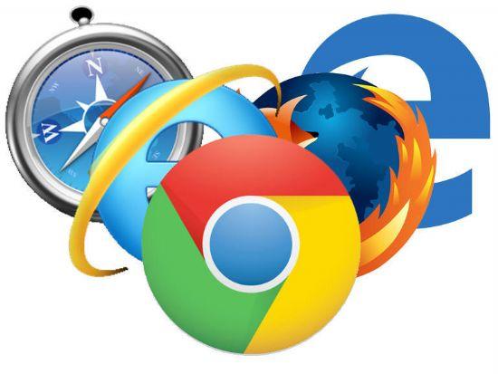 주요 브라우저 로고. 왼쪽부터 사파리, 인터넷익스플로러, 크롬, 파이어폭스, 엣지.