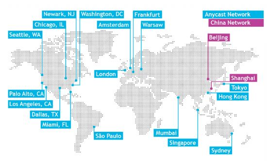 미국 DNS서비스 업체 딘(Dyn)의 애니캐스트 서비스 네트워크 지도.