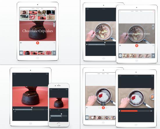 아이패드용 어도비 스파크 앱 기능 소개 이미지. (왼쪽위부터 시계방향으로) 간편하게 영상 불러오기, 기존 영상 편집하기, 내레이션 길이에 영상 맞추기, 자르기.