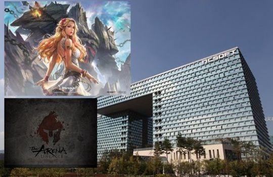 엔씨소프트 판교 사옥과 엔씨소프트의 대표 온라인 게임 리니지, 리니지2 이미지.