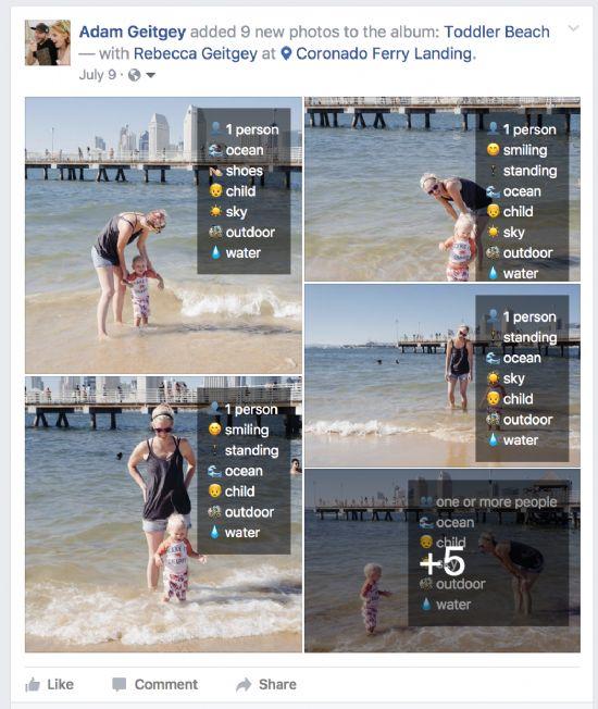 그루폰 개발자 애덤 가이트게이가 만든 브라우저 확장기능 동작 화면. 페이스북 이미지인식 알고리즘을 통해 사용자가 서비스에 올린 사진에 자동 생성되는 태그를 사용자에게도 직접 보여 준다. [사진=Adam Geitgey]
