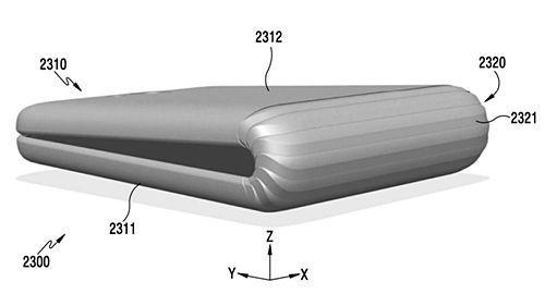 삼성전자가 지난해 말 미국 특허청에 출원한 폴더블 스마트폰 이미지 (사진=미국 특허청)