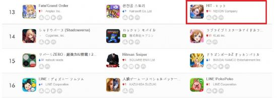 일본 앱스토어 매출 13위 오른 히트.(사진=게볼루션)