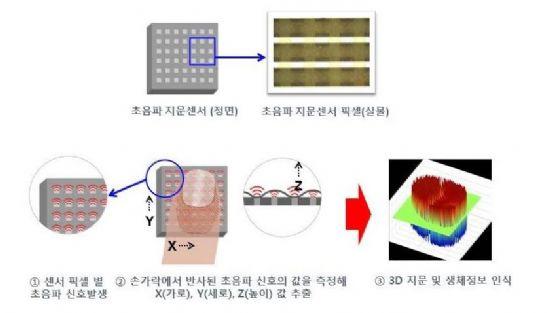 초음파 지문인식 센서 동작 원리를 설명한 개념도 (사진=캠시스)