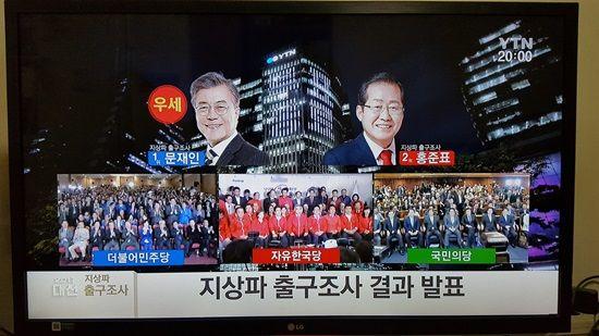 지상파방송 3사 출구조사 결과(YTN 방송화면 사진)