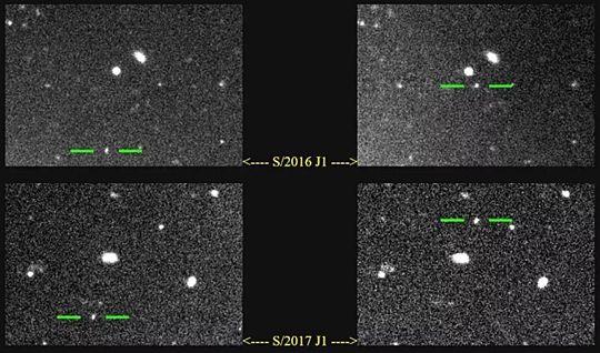 이번에 발견된 목성의 위성, 초록색 선으로 표기되어 있다. (사진=스콧 S. 셰퍼드)