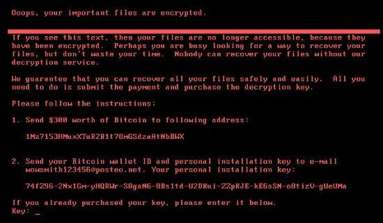 페트야 랜섬웨어 감염 시스템 부팅시 나타나는 화면. 파일뿐아니라 시스템 부팅영역까지 암호화해 기존 OS를 쓸 수 없게 만든다. [자료=시만텍]
