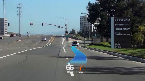 현대차그룹이 개발에 전념하고 있는 증강현실 헤드업디스플레이 구동 화면 (사진=현대자동차그룹 HMG저널)