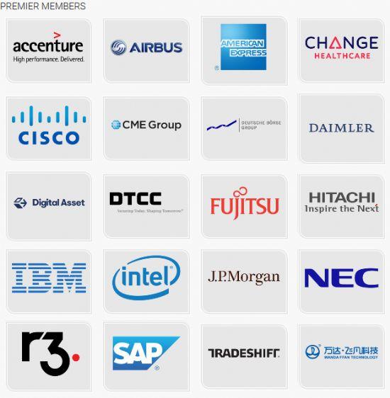 하이퍼레저 오픈소스 프로젝트 프리미어 회원사 목록.