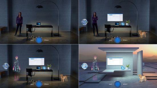 한국MS의 2017년 10월 26일 SOSCON 발표자료 일부. 물리적 현실에 가까운 AR에서 디지털 현실에 가까운 VR에 다가가는 스펙트럼의 변화를 순차적으로 보여주고 있다.