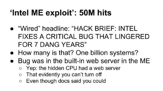 인텔CPU 펌웨어 ME 보안취약점을 해결하기 위해 대체SW를 개발하는 너프(NERF) 프로젝트를 소개한 구글 발표자료 일부. ME 취약점의 파장이 광범위할 수 있다는 우려를 제기하는 부분.