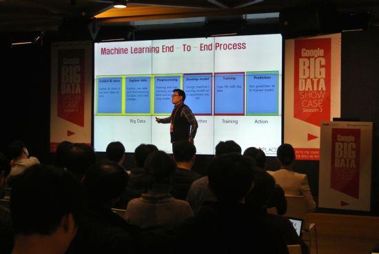 2017년 12월 12일 진행된 락플레이스 빅 데이터 쇼케이스 행사 중 'Big Data Learning, Why Google Cloud?' 주제 발표 중인 락플레이스 권수용 시니어 컨설턴트