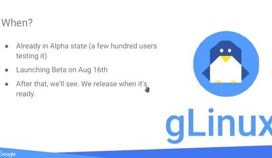 2017년 8월 치른 DebConf17 구글 엔지니어 라이트닝토크 발표자료 일부. g리눅스라는 내부 업무용 데스크톱리눅스 배포판 전환 현황을 소개하고 있다.
