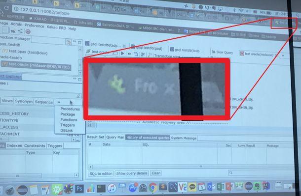 조현종 씨와 카카오 데이터플랫폼파트장 이 씨가 진행한 2016년 11월 미팅 당시, 이 씨가 보여준 데모 화면. 회사측이 올챙이 커스텀 버전 SW를 개발해 고유 이미지는 유지하면서 임의로 Frog라는 이름을 붙인 상황이다.