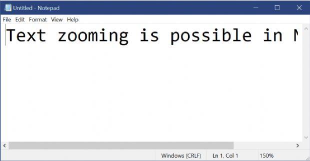 윈도10 레드스톤5 업데이트에 포함된 메모장은 간편하게 글씨 크기를 조절할 수 있는 배율조절(Zoom) 기능을 갖췄다.