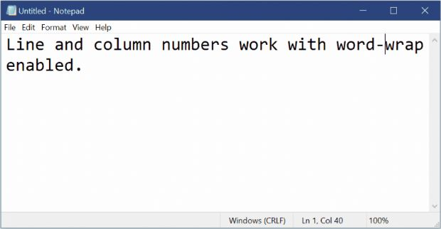 윈도10 레드스톤5 업데이트에 포함된 메모장은 상태표시줄을 띄운 채 자동 줄바꿈 기능을 쓸 수 있다.