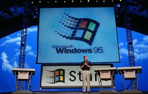 1995년 윈도 95 출시 당시 빌 게이츠의 모습 (사진=MS)