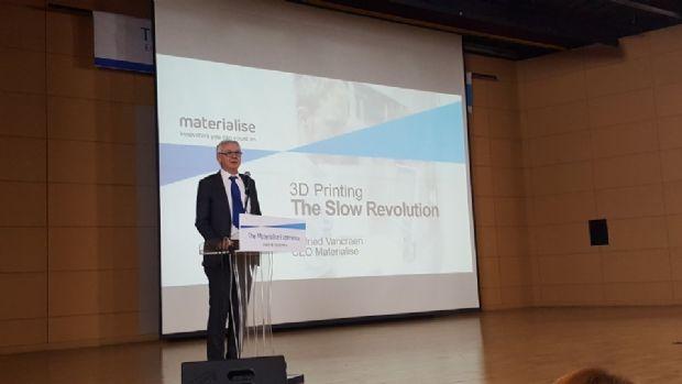 윌프리드 반크란(Wilfried Vancraen) 머티리얼라이즈 대표가 13일 울산대학교에서 컨퍼런스 기조연설을 하고 있다.(사진=지디넷코리아)