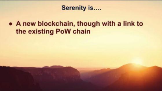 세레니티는 캐스퍼, 샤딩 솔루션을 적용한 새로운 체인과 기존 이더리움 PoW를 체인을 열결하는 구조가 될 예정이다.(이미지=비탈릭 부테린 데브콘4 발표)