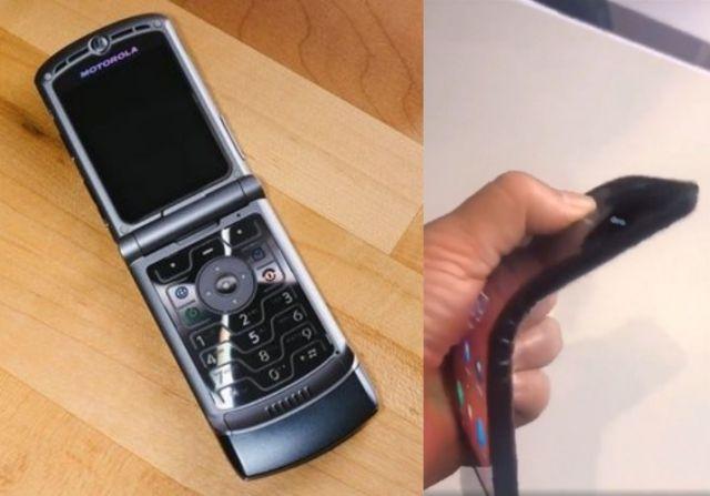 모토로라 레이저폰(왼쪽)과 작년 유출된 레노버 폴더블폰 시제품(오른쪽)