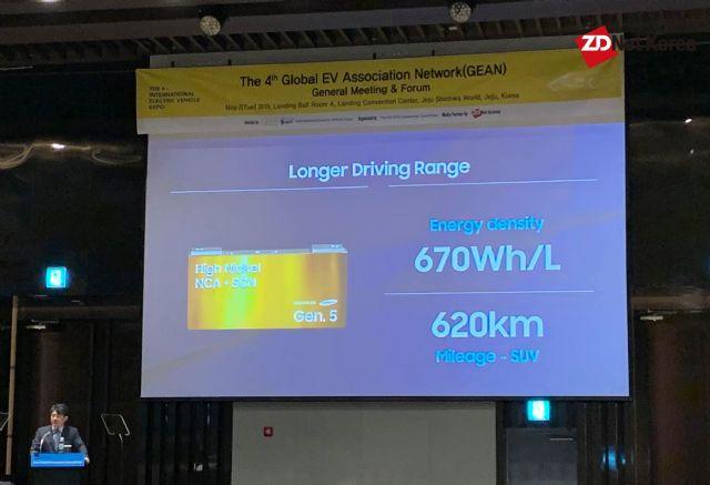 김정욱 삼성SDI 부사장이 자체 5세대 배터리 셀에 대해 소개하고 있다. 한번 충전으로 620km 주행이 가능한 것이 특징이다. (사진=지디넷코리아)
