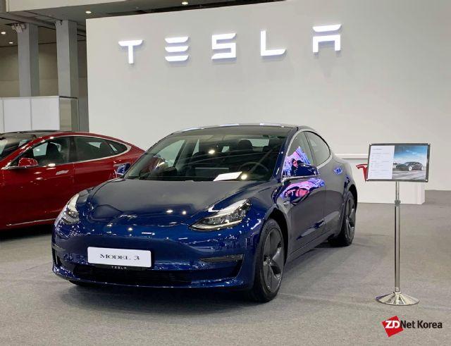 2019 대구국제미래자동차엑스포에 전시된 테슬라 모델 3 (사진=지디넷코리아)