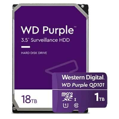 WD 퍼플 18TB 하드디스크 드라이브와 1TB 마이크로SD카드. (사진=웨스턴디지털)
